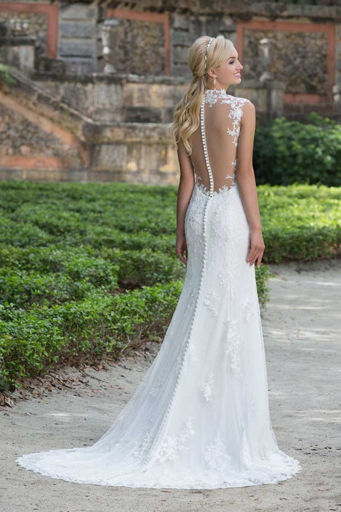 Slim A Line Lace Wedding Dress With Low Illusion Back Ons Extend Down Train